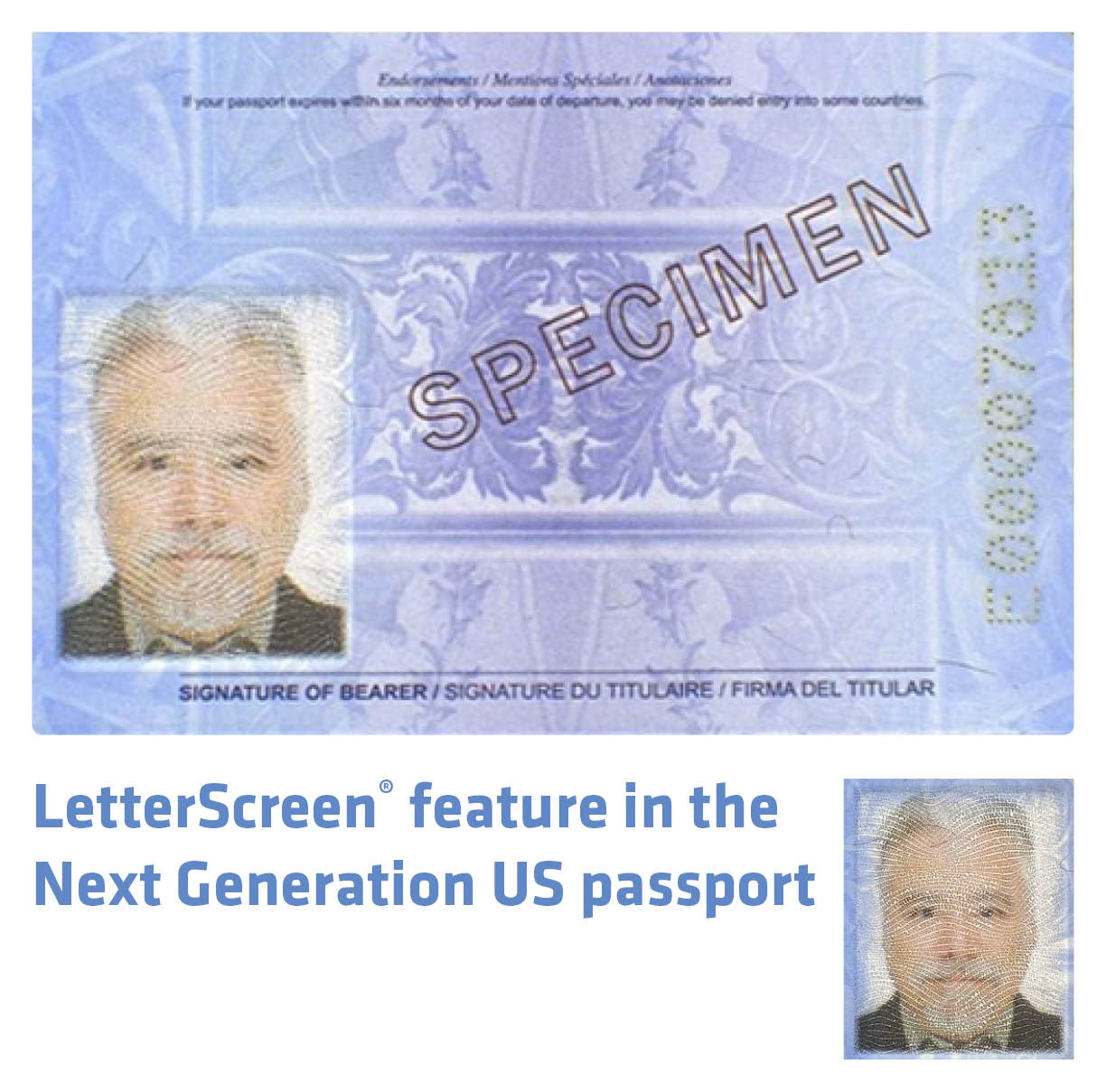 LetterScreen® feature in the Next Generation US passport-postba